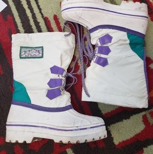Vintage Winter Boots Deep Country sz 8 Purple White